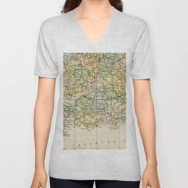 England and Wales Vintage Map Unisex V-Neck