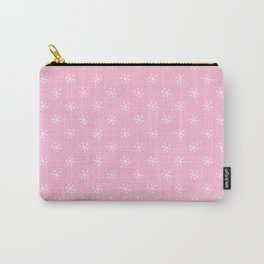 White on Cotton Candy Pink Snowflakes Carry-All Pouch