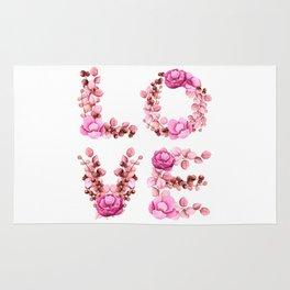 L-O-V-E in Pink Flowers Rug