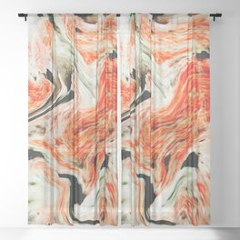Marble Orange Black Pattern Sheer Curtain