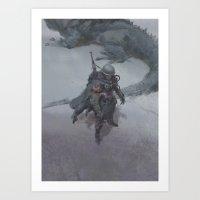 the gray rider Art Print