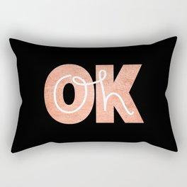 Oh Ok - Rose on Black Rectangular Pillow