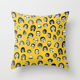 So Many People (Yellow) Pattern Print Throw Pillow