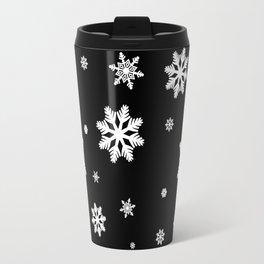 Snowflakes | Black & White Travel Mug