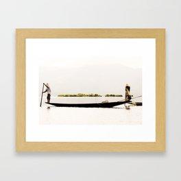 Acrobatic Fisherman in Myanmar - Lake Inle Framed Art Print