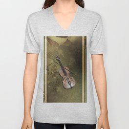 Wonderful violin with clef and key notes Unisex V-Neck