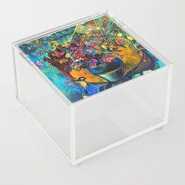 Flowers in Blue Landscape Acrylic Box
