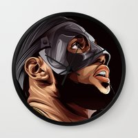 lebron Wall Clocks featuring THE KING by THEMAD3