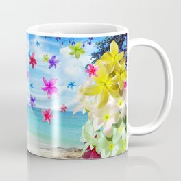 Tropical Beach and Exotic Plumeria Flowers Coffee Mug
