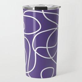 Doodle Line Art | White Lines on Ultra Violet Background Travel Mug