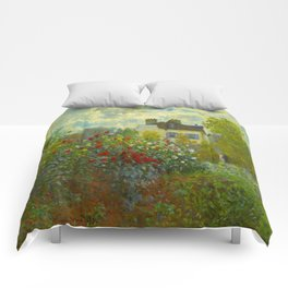 Claude Monet Impressionist Landscape Oil Painting A Corner of the Garden with Dahliass Comforters