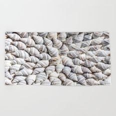 White Seashells Pattern Beach Towel