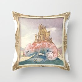 Camelot on a Chameleon Throw Pillow