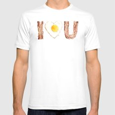 Bacon and Egg LOVE I Heart You Food Lovers White Mens Fitted Tee MEDIUM