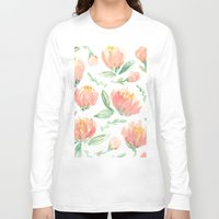 peonies Long Sleeve T-shirts featuring peonies by Golden Girl Art
