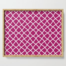 Berry pink and white curved grid pattern Serving Tray