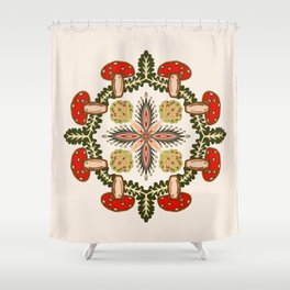 Fly Agaric Toadstool Forest Folkart, Red Fungi Mushroom Design with Trees Shower Curtain