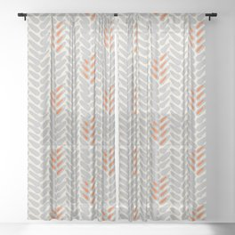Orange and Grey Wheat Pattern Sheer Curtain