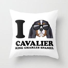 I Love Cavalier King Charles Spaniel modern v1 Throw Pillow
