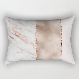 Rose metallic striping - marble and blush Rectangular Pillow