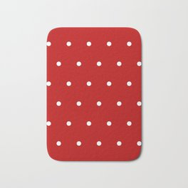 Red and White Polka Dots Pattern Bath Mat