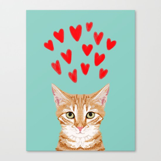 Mackenzie - Orange Tabby Cute Valentines Day Kitten Girly Retro Cat Art cell phone Canvas Print