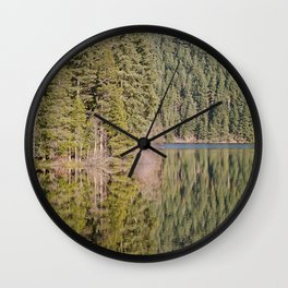 FOREST REFLECTIONS ON A MOUNTAIN LAKE Wall Clock