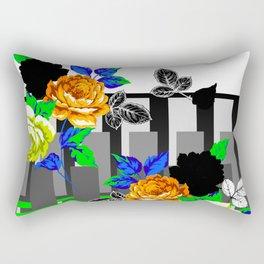 Chintz Rose Orange & Green Rectangular Pillow