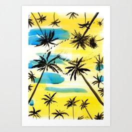 Under the palm trees Art Print