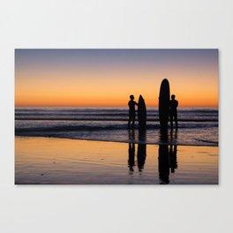 Sunset Surfers Canvas Print