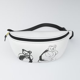 Two little bears pattern, design for kids, black and white drawig Fanny Pack