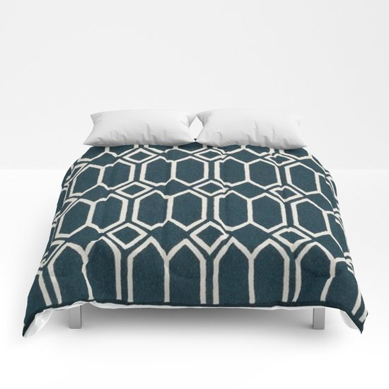 Geometrics in Blue and White Diamonds Comforters
