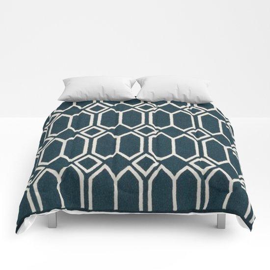 Geometrics in Blue and White Diamonds Comforters