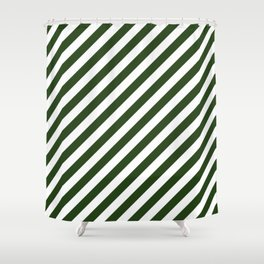 Large Dark Forest Green and White Candy Cane Stripes Shower Curtain