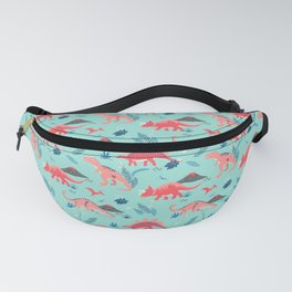 Jurassic Dinosaurs in Coral + Aqua Fanny Pack