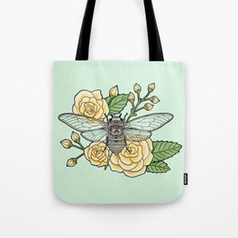 Cicada with Roses - Mint Tote Bag
