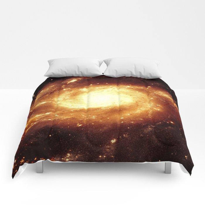 Golden Spiral Galaxy Comforters