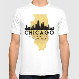 CHICAGO ILLINOIS SILHOUETTE SKYLINE MAP ART T-shirt