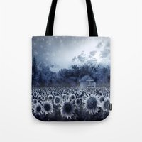 sunflowers Tote Bags featuring sunflowers by Bekim ART