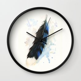 Watercolor Blue Jay Feather Wall Clock