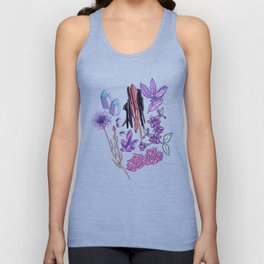 Purple flowers and jewels. Unisex Tank Top