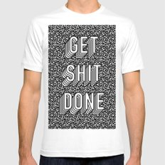Get Shit Done Memphis Static White MEDIUM Mens Fitted Tee