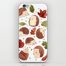 Autumn Hedgehogs iPhone Skin
