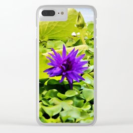 Tropical Purple Flower Clear iPhone Case