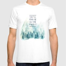 You´ll find me in the forest White MEDIUM Mens Fitted Tee