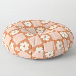Flower Checker in Burnt Orange  Floor Pillow