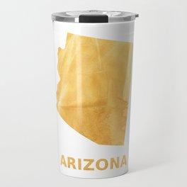 Arizona map outline Sunny yellow watercolor Travel Mug