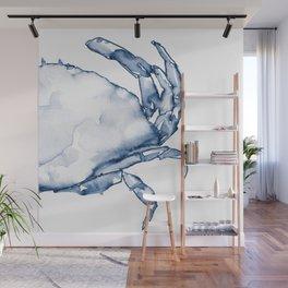 Coastal Crab in Watercolor, Navy Blue (Right Half in Set) Wall Mural