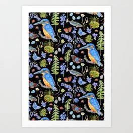 Woodland Stream Pattern Black Art Print