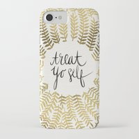 treat yo self iPhone & iPod Cases featuring Treat Yo Self – Gold by Cat Coquillette